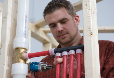 Flower mound plumbing contractor installs PEX piping on a new installation